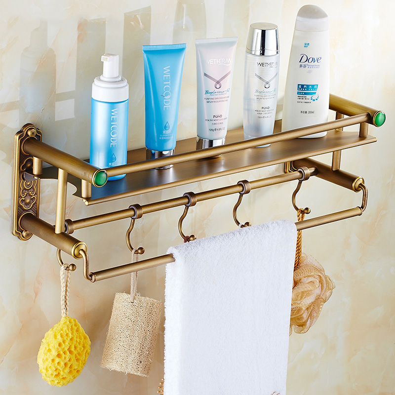 Bathroom Shelves Brass Antique Finish Bathroom Shelf For Skin Care Shower Gel Shampoo Hair-conditioner Towel Hook Home SSL-S48 heyner heyner бустер safeup xl