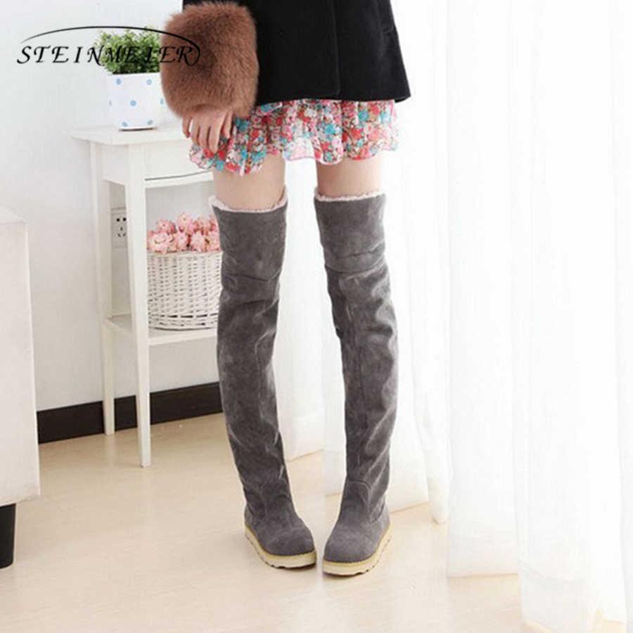 Akın kar botları kadın flats yüksek diz çizmeler artı kadife ayakkabı Kore versiyonu çizmeler ile kürk 2018 kış siyah gri sarı kahverengi