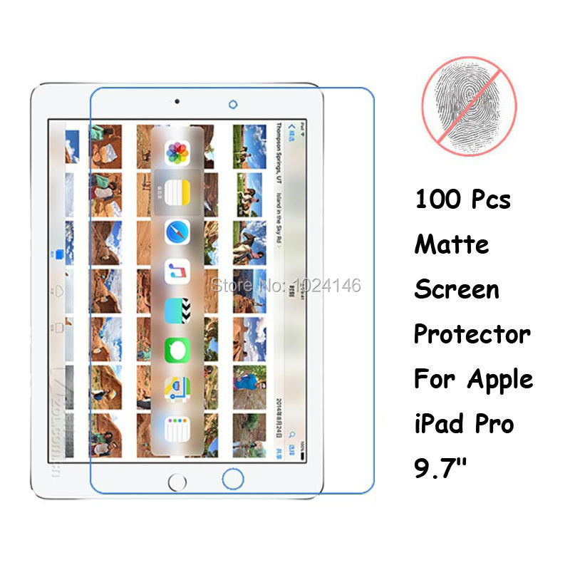 New 100 Pcs/Lot <font><b>Anti-Glare</b></font> Matte <font><b>Screen</b></font> <font><b>Protector</b></font> <font><b>For</b></font> <font><b>Apple</b></font> <font><b>iPad</b></font> Pro 9.7 Inch Protective Film Guard With Cleaning Cloth