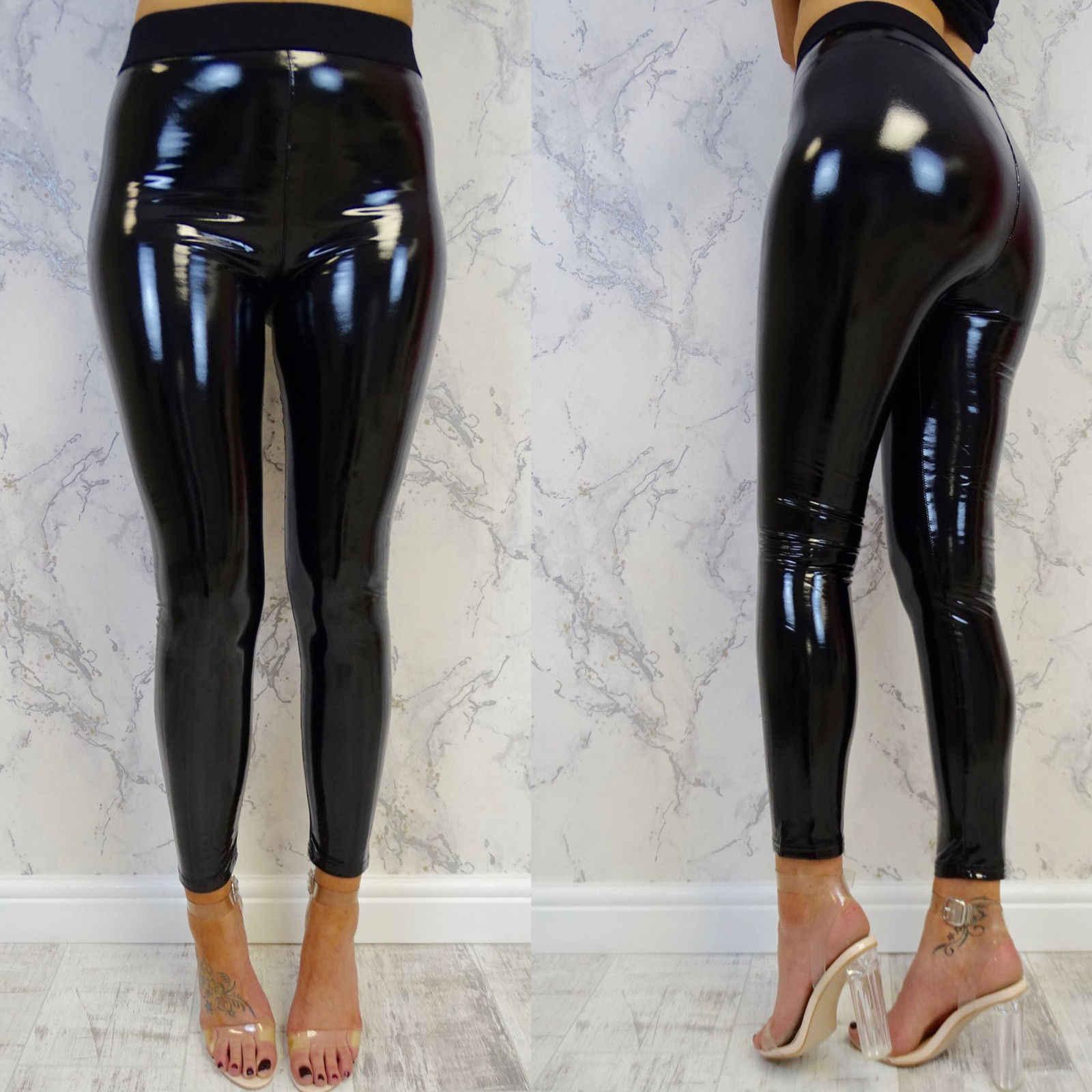 1ca51656478dd9 Women Leggings Wet Look PU Leather Leggings Black Slim Long Pants Women  Sexy Skinny Leggings