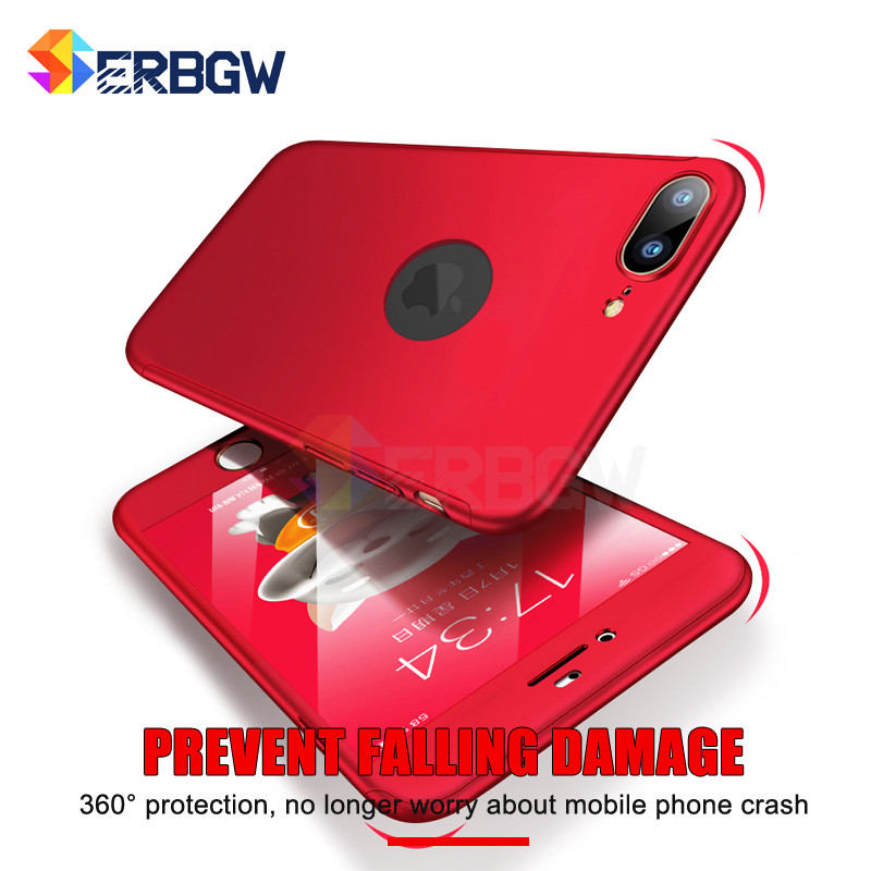 Luxury 360 Degree Case for iPhone 6 6S 7 8 Plus Xs Max Fundas Plastic Full Cover for iPhone X XS XR Cases Coque with Glass