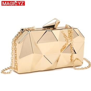 MAGICYZ Gold Acrylic Box Geometry Clutch 2
