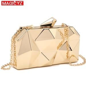 Image 3 - MAGICYZ sac à main pochette géométrique pour femme, boîte acrylique or, sac de soirée à chaîne pour soirée, à bandoulière pour mariage, rencontres ou fêtes