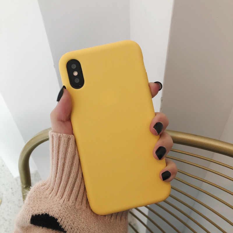 Fundas de parejas de silicona de Color sólido de lujo para iphone XR X XS MAX 6 6S 7 8 Plus funda de teléfono de moda Simple suave de Color Coque