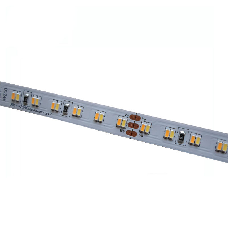 5mX High quality 3014SMD LED strip light DC24V input 224LED/m CW+WW color temperature adjustable Non-waterproof free shipping