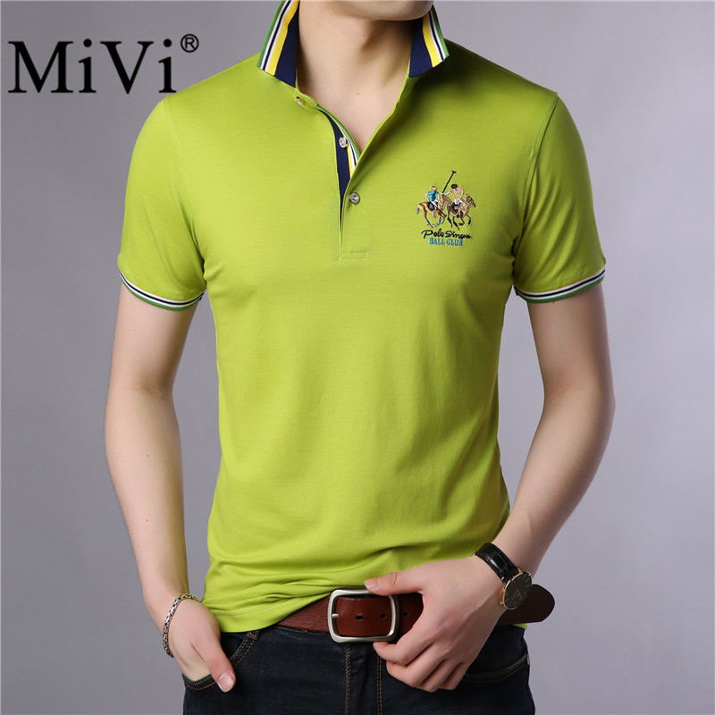 MIVI 2018 NEW Mens Golf Tennis Short Sleeve T-Shirts Summer Cotton Casual Sport Business Down Collar Polo T-Shirt Homme