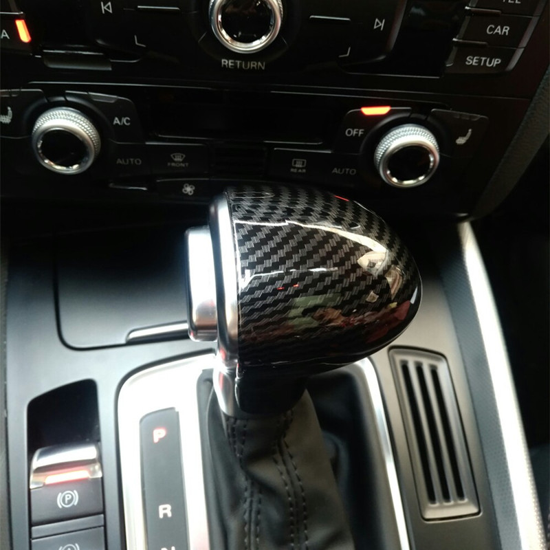 Car Styling Console Gearshift Handle Head Frame Cover Carbon Fiber Sticker For Audi A4 B8 B9 A5 A6 A7 Q7 Q5 Interior Accessories