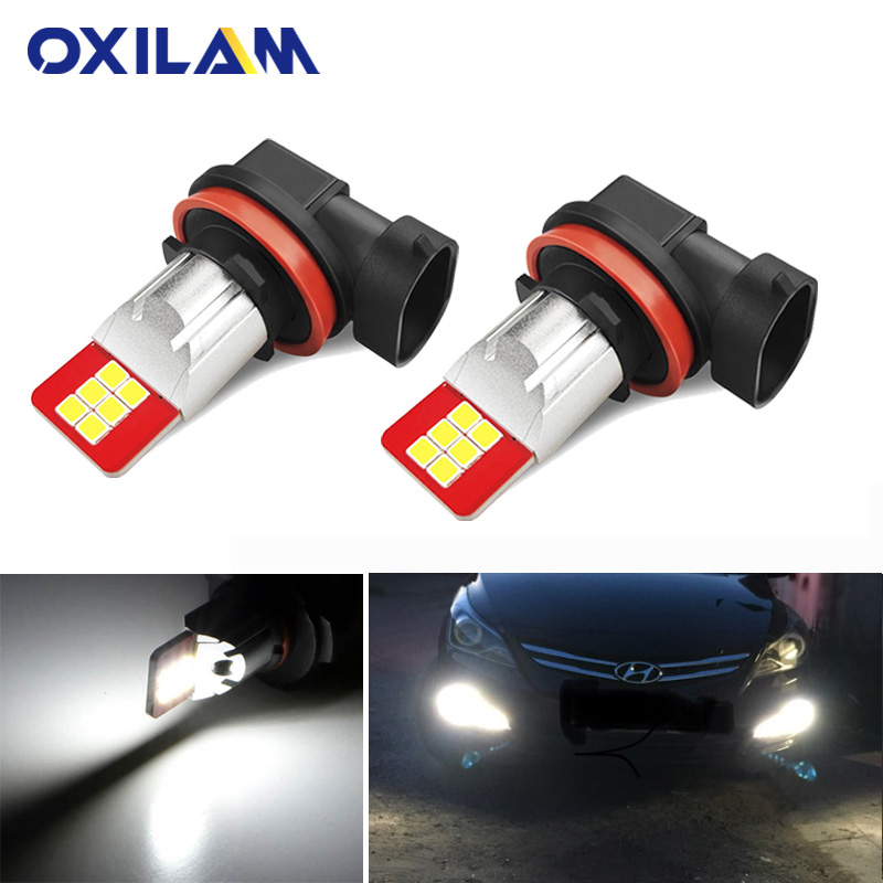 OXILAM 2x Fog Lights LED DRL For Hyundai Creta Tucson IX25 IX35 Solaris Accent Santa Fa Accessories H8 H11 9005 9006 LED Bulb