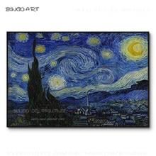 Excelente artista pintados à mão de alta qualidade céu estrelado pintura a óleo sobre tela reprodução van gogh noite estrelada pintura a óleo
