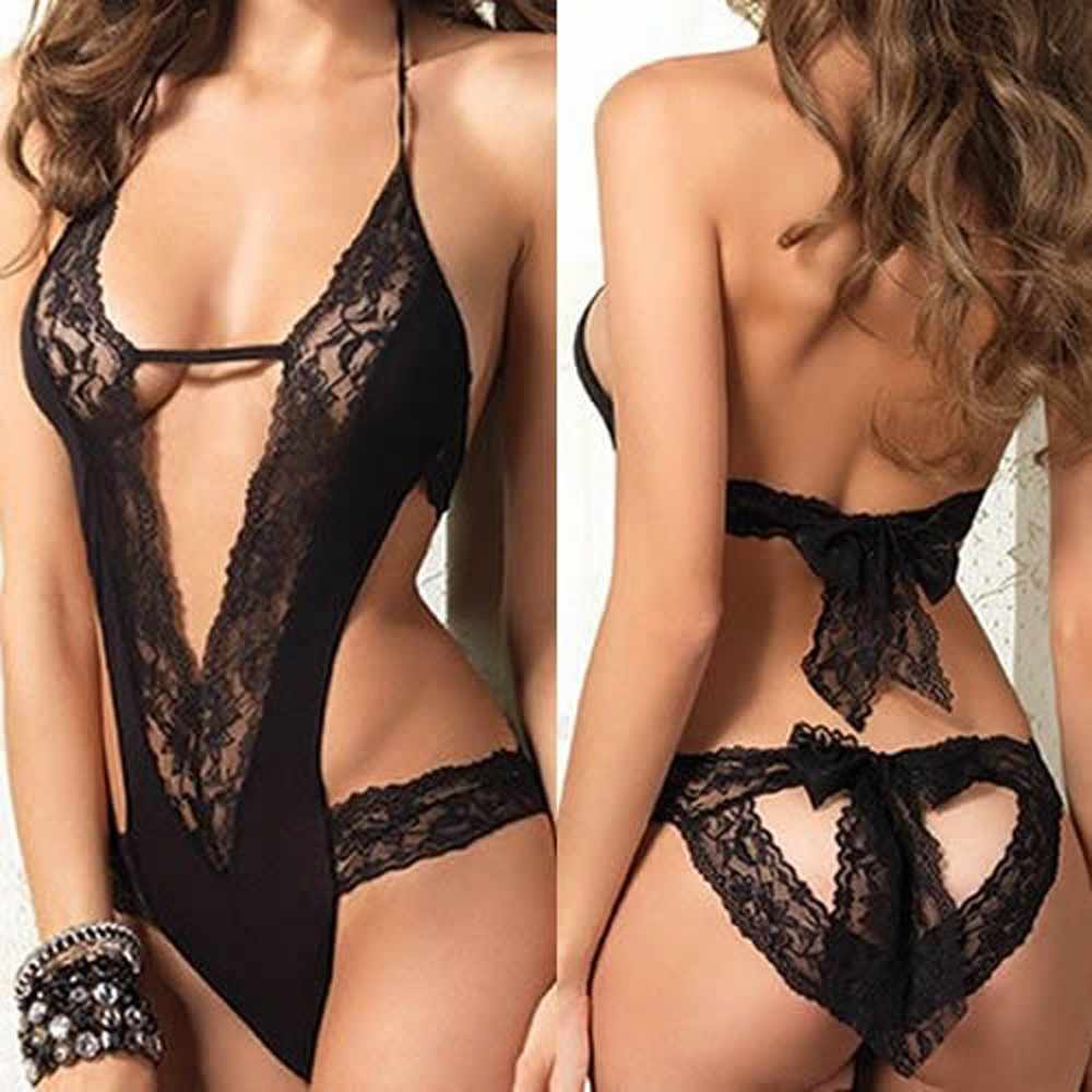New Sexy Lingerie Hot Sale Women Black Lace Spliced Erotic Lingerie Costumes Temptation Transparent Sleepwear Babydoll Nightwear