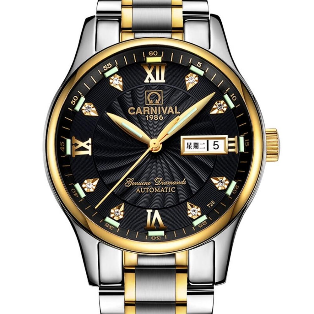 Carnival Mens Tritium Luminous Waterproof Steel Watchband Automatic Mechanical Watch Wristwatch - gold case black luminous цена и фото