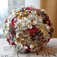 DIA 20CM 2018 Trendy Handwork Red Ribbon Silk Wedding Bouquet Luxury Crystal Pearl Bridal Bridesmaid Flower