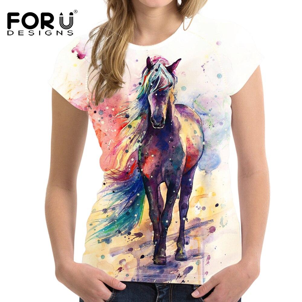 Forudesigns Art Painting Horse Print Women T Shirt Fashion Summer 3d