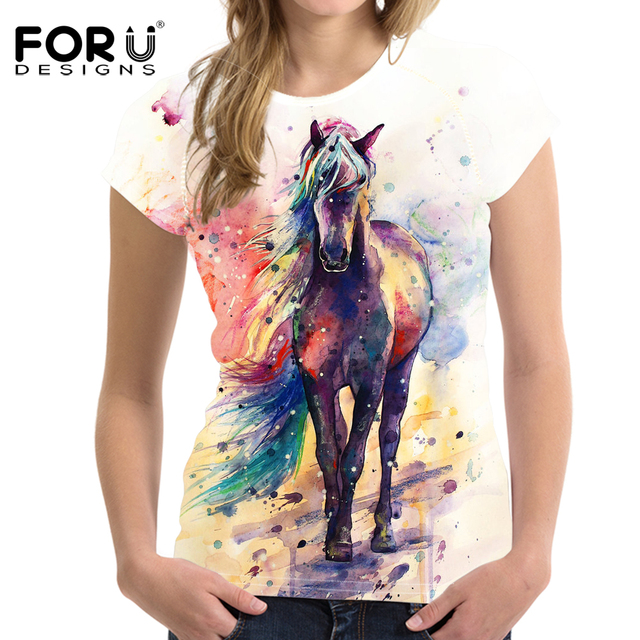 bd1ff4a7c241 FORUDESIGNS Art Painting Horse Print Women T Shirt Fashion Summer 3D  Printed T-shirts Casual Female Tops Tee Shirt Short Tshirts