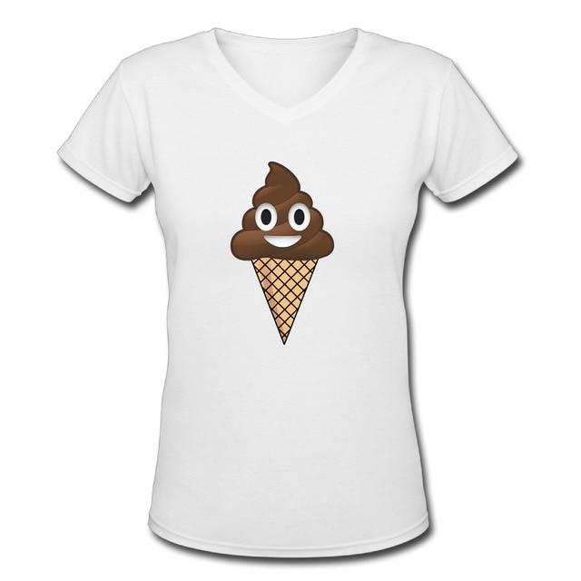 Chocolate Ice Cream T Shirts Women V Neck Fashion Poop Emoji Fun