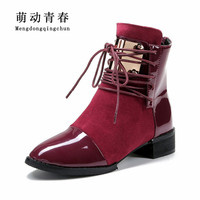 Plus Size 35 43 Genuine Leather Women Boots Flat Heel Martin Ankle Boots Womens Motorcycle Boots