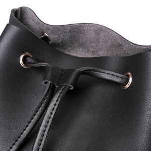 Image 4 - Vintage Women Leather Backpack Female Drawstring School Bag Black Rucksack Brand Shoulder Bags For Teenage Girls Backpacks XA27H