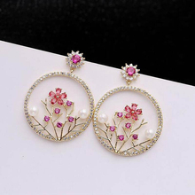 Ruifan Fashion Korean Style Round Cubic Zircon Gold Color Drop Earrings for Women Pearl Earring Anti allergy Jewelry YEA072