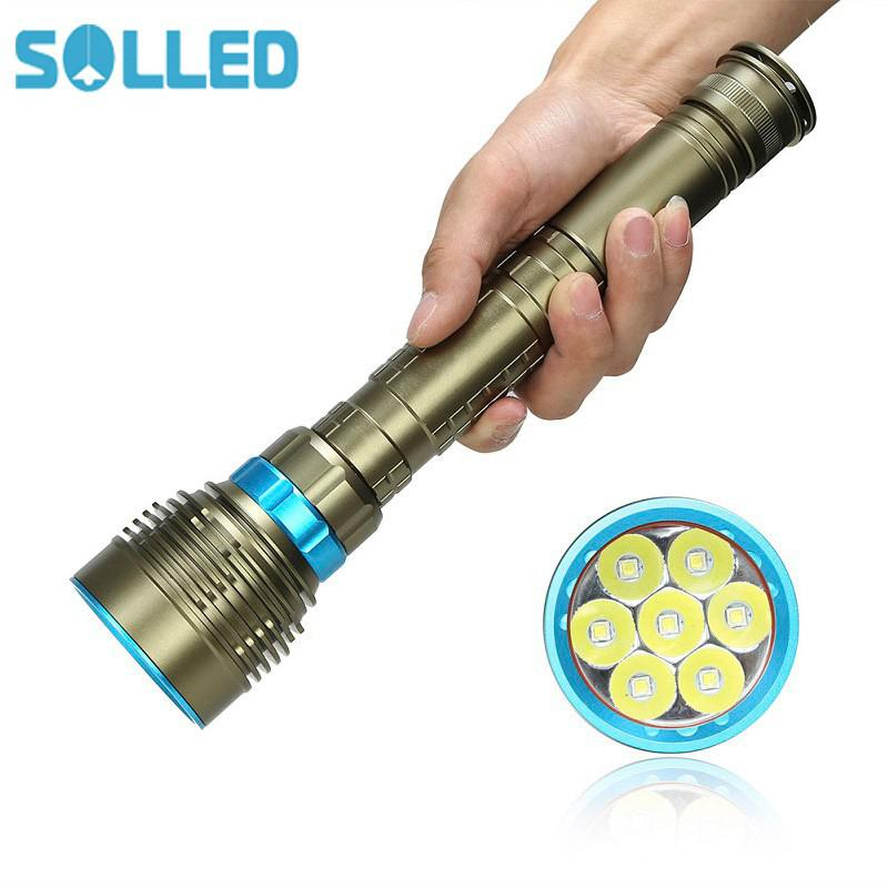 SOLLED 18000LM 7 XML-T6/15000LM XML-T6 LED Strong Light Diving Flashlight Torch Underwater Waterproof Light Tactical Lantern sitemap xml page 7