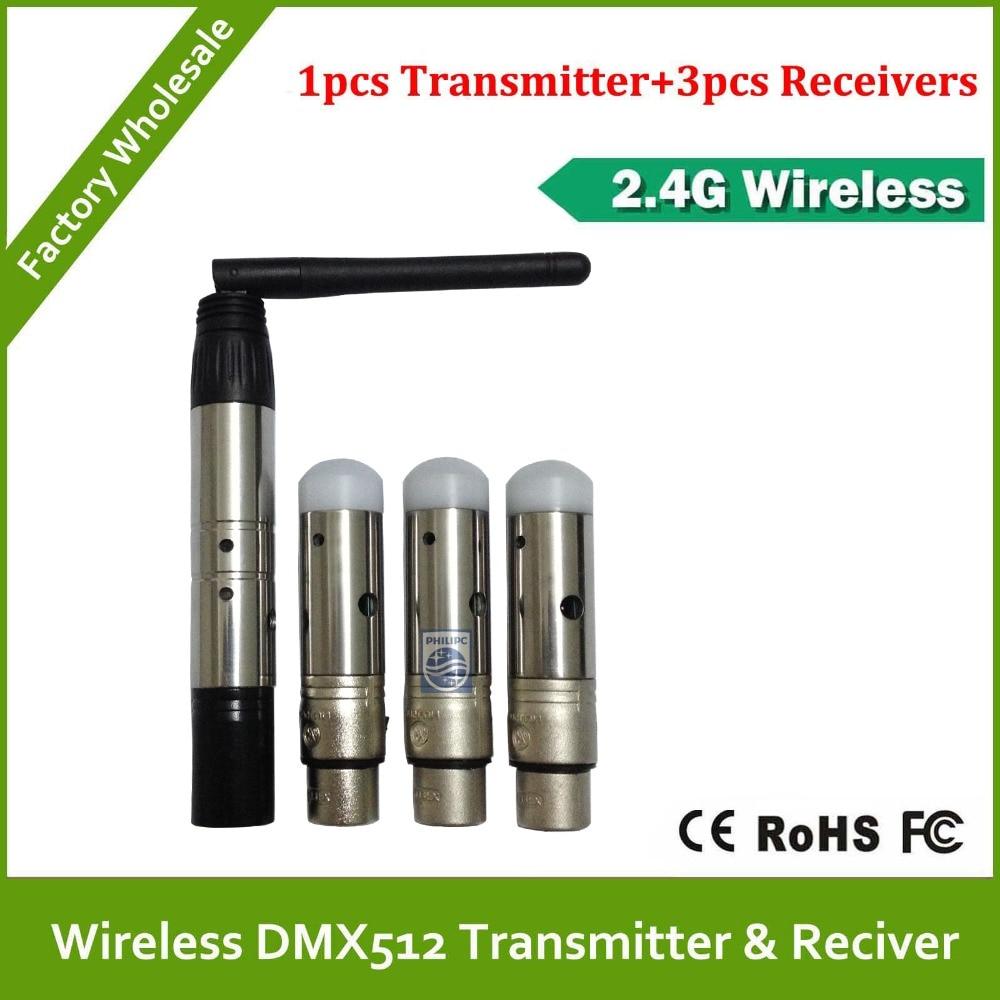 DHL Livraison Gratuite sans fil dmx 1pcs émetteur et 3pcs récepteur pour rgb sans fil dmx led par la lumière