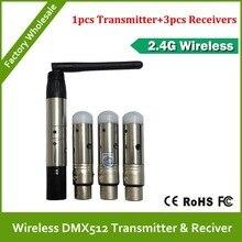 Бесплатная доставка DHL Wireless DMX 1 шт. передатчик и 3 шт. приемник для RGB Wireless DMX LED PAR свет