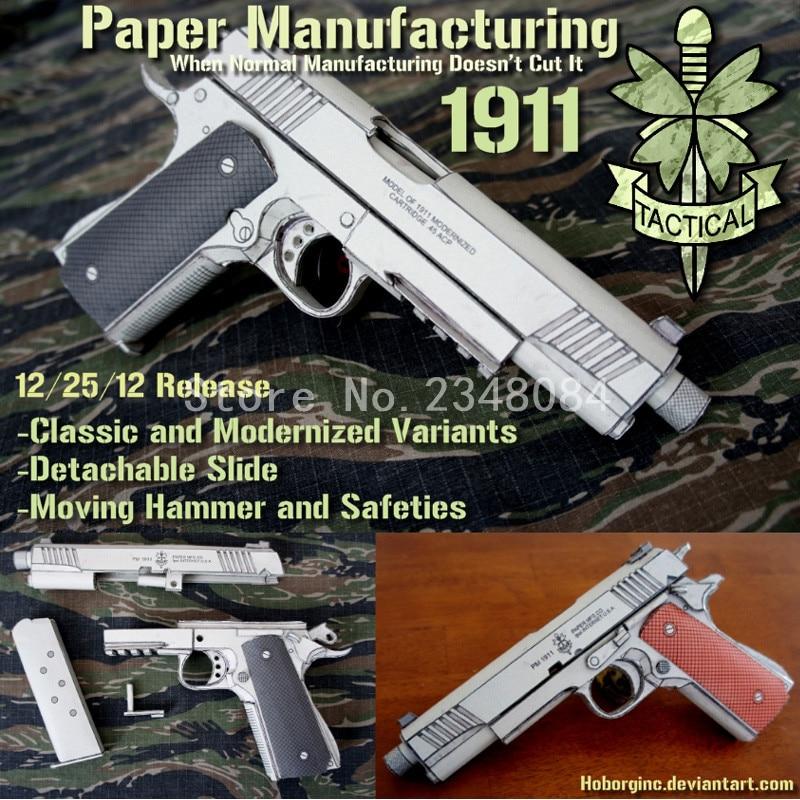 2016 New Arrival Scale 1:1 Colt M1911 Pistol 3D Paper Model Toys for ...