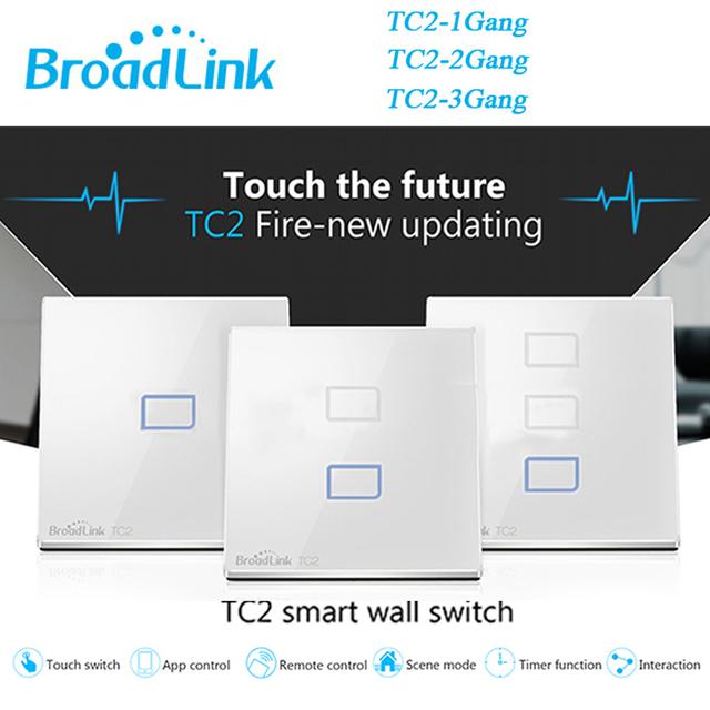 Broadlink tc2 1 bandas + 2 alturas + 3 gang control remoto inalámbrico de interruptor de pared light touch de vidrio templado 170 v-240 v domótica inteligente