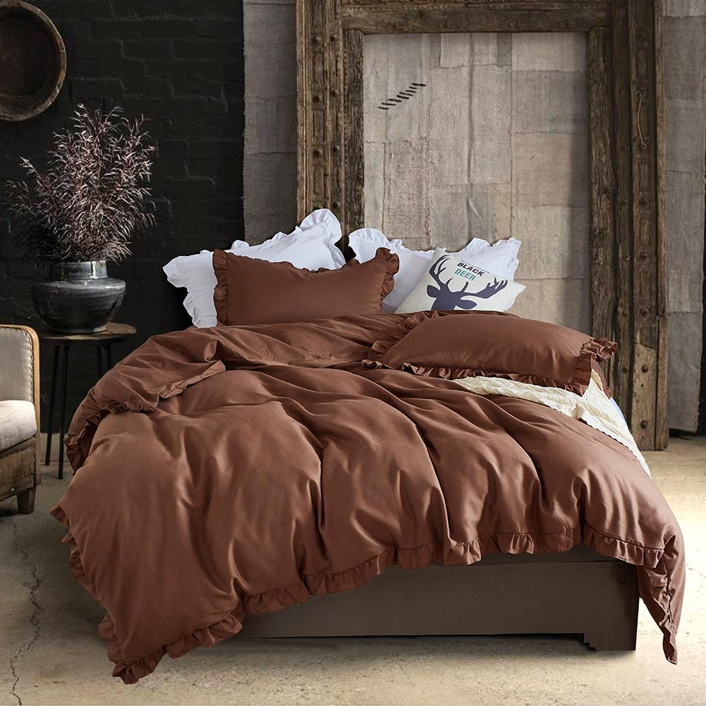 100 Polyester Bedding Set Solid Cover Bed Sheet Pillow