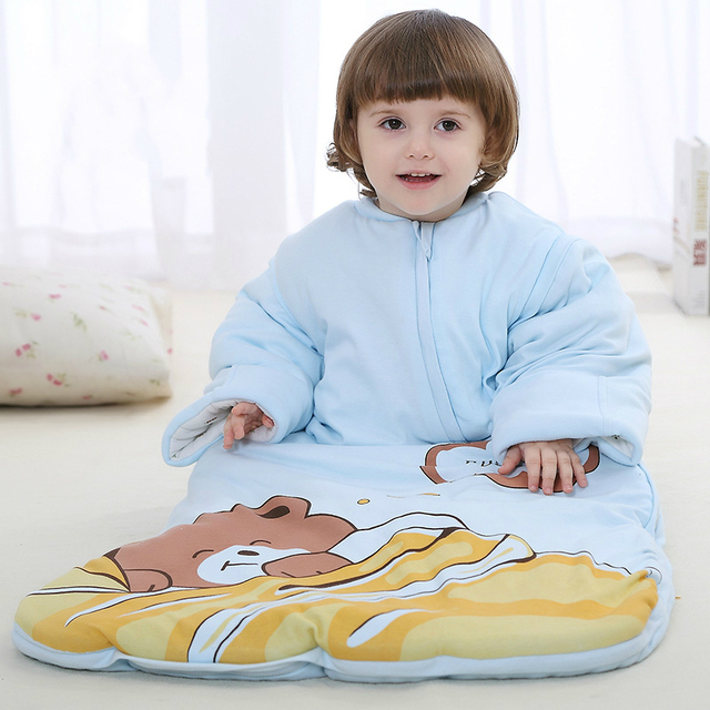 2016 New Baby Sleeping Bag Cotton Thick Lengthen Baby Sleep Sack Detachable Sleeve Cartoon Baby Swaddle Wrap C01