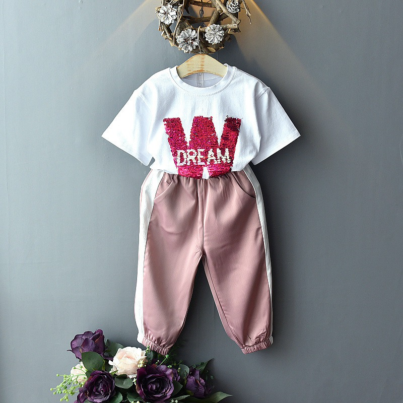 Summer 2-7 year For Girls Baby clothes cute Letter Sequin short sleev T-Shirt Tops+kid pant 2 Pcs Princess Clothes Suit C2718Summer 2-7 year For Girls Baby clothes cute Letter Sequin short sleev T-Shirt Tops+kid pant 2 Pcs Princess Clothes Suit C2718