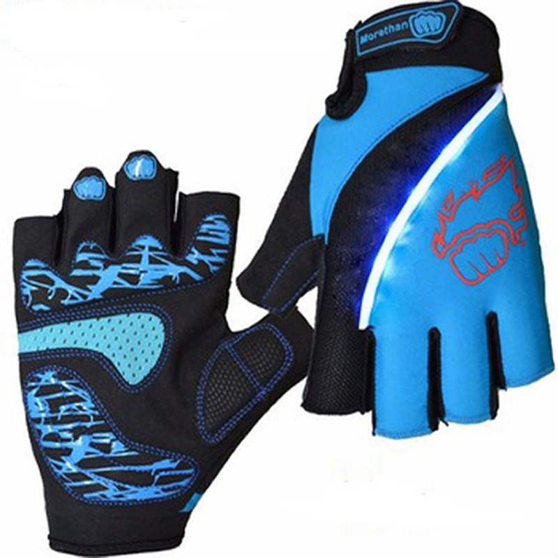 Outdoor Sports Racing Equipment Cycling Gloves Summer Half Finger Breathable Lycra Bicycle Gloves Bike Gloves With LED Light