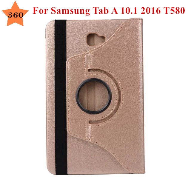 for Samsung Galaxy Tab A 6 10.1 2016 T580 T585 T580N T585N Tablet case 360 degree Rotating Litchi Pattern PU Leather Case Cover fashion painted flip pu leather for samsung galaxy tab a 10 1 sm t580 t585 t580n 10 1 inch tablet smart case cover pen film