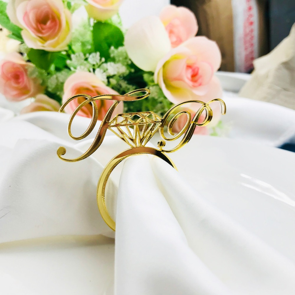 Personalized Acrylic Wood Gold Silver Laser Cut Napkin Rings with Heart Diamond For Wedding Party Table Decoration Birthday party (9)