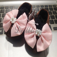 Coffee/Pink/White Big Bowknot 1 Pair 0 1Yrs Princess Baby Girl Handmade Sewing Lace Elastic Band Soft Soled Infant Crib Shoes