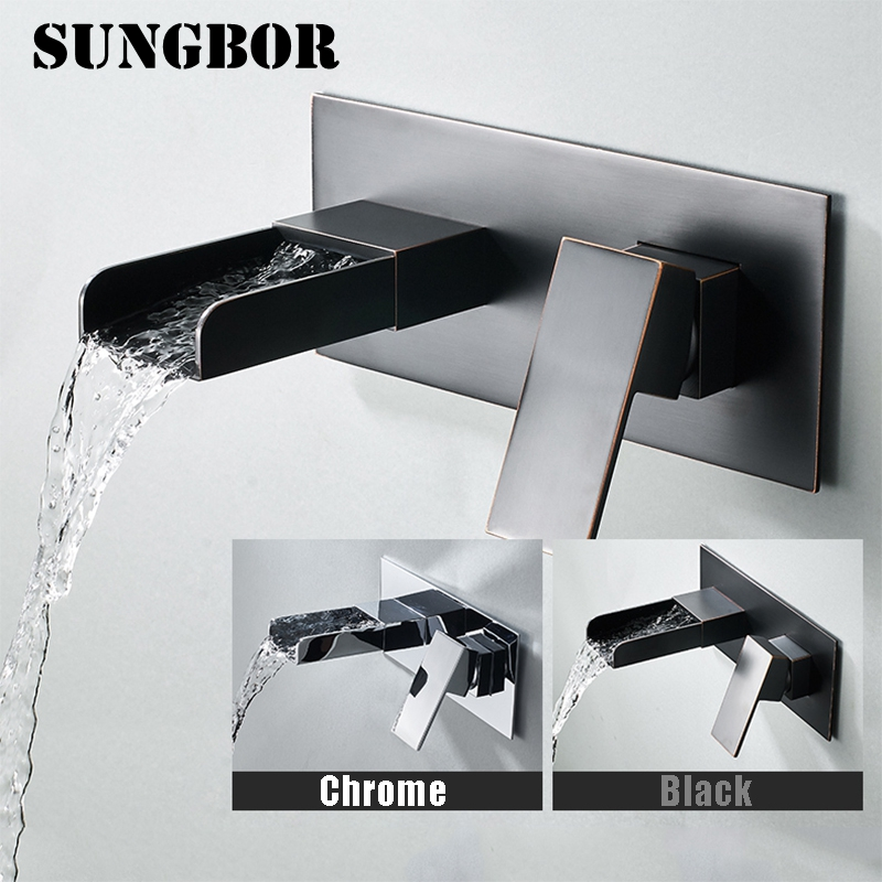Black Chrome Waterfall Basin Faucets Wall Mount Waterfall Faucet Single Handle Mixer Tap Bathroom Waterfall Basin