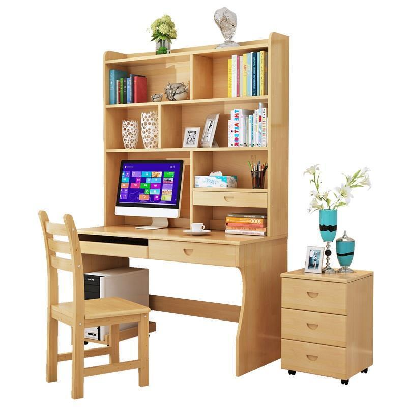 купить Dobravel Standing Bed Mesa Escritorio Stand Tafel Office Biurko Retro Wood Computer Laptop Tablo Desk Table With Bookshelf по цене 13545.78 рублей