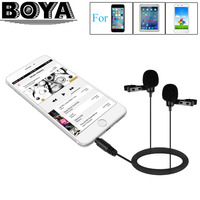 BOYA BY LM400 Dual Omnidirectional Condenser Lavalier Microphone For IPhone IPad Android Smartphone Video Record Interview