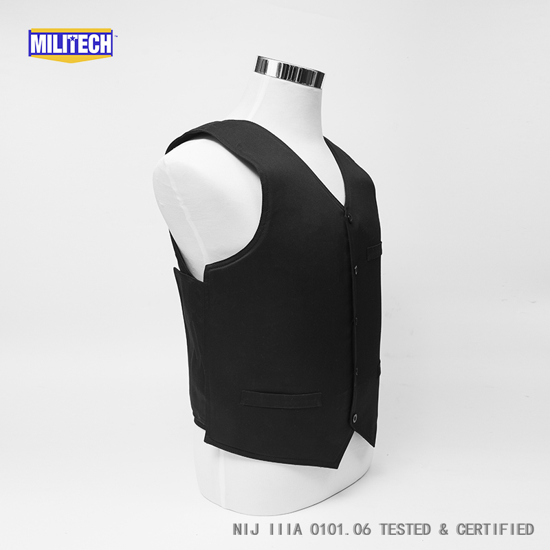 Image 5 - Militech Ballistic BulletProof Vest NIJ IIIA 3A and Level 2 Stab VIP Black Concealable Covert Twaron Aramid Bullet proof Vest-in Safety Clothing from Security & Protection