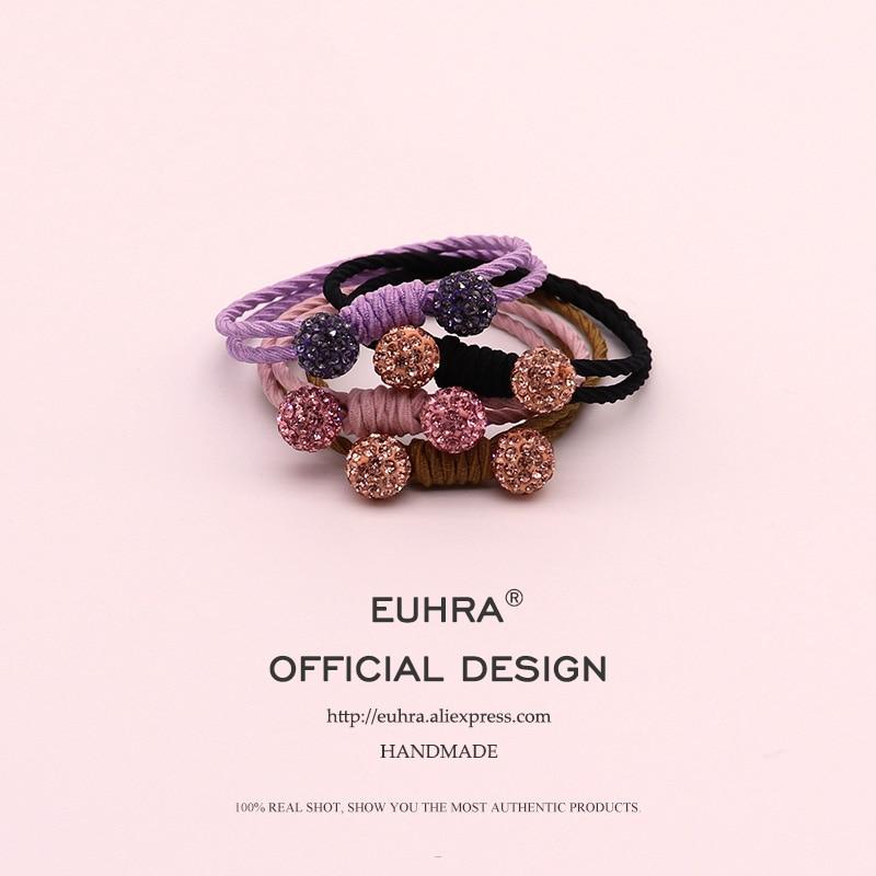 EUHRA 4 Colors Inlaid Rhinestone Quartz Plait For Women Elastic Hair Bands Kid Children Rubber Bands High Elasticity