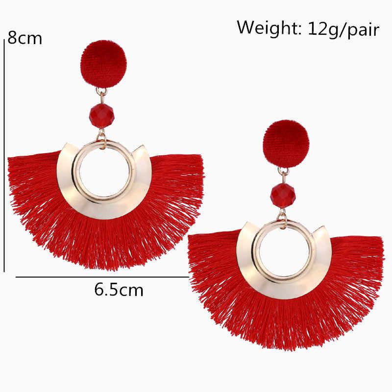 14 farben Böhmen Perlen Fan Shaped Quasten Drop Ohrringe Für Frauen Neue Mode Ohr Schmuck Baumeln Brincos Femmes Geschenk EB2169