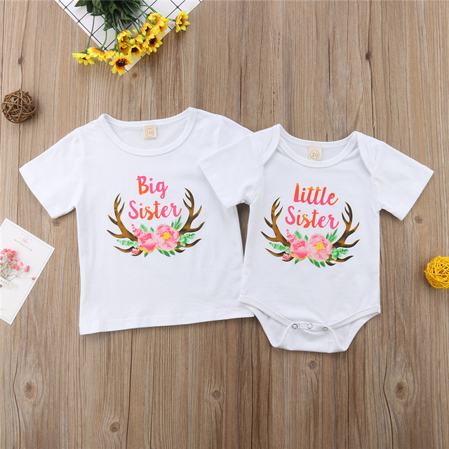 Família Roupas Combinando Equipamentos de Natal Pouco Grande Irmã Roupas de Bebê Menina Bodysuits Crianças Meninas T-shirt Crianças Roupas 0-6Y