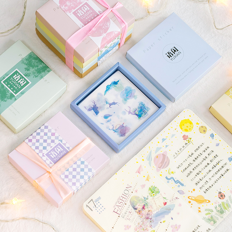 50 sheets/box College Style Plants Washi Paper Sticker Decoration Diy Ablum Diary Scrapbooking Label Sticker Stationery packaging and labeling