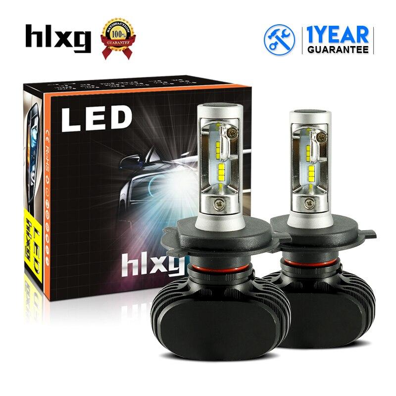 HLXG 1 set S1 N1 H4 LED Car Front Headlight Bulbs CSP 6000K 8000LM Hi-Lo Beam Auto Headlamps 12V DRL 50W Led Conversion Kits 1 set h4 led hi lo beam car headlight bulbs auto front led lamps 36w bulb 9000lm all in one csp chips 6500k cold white 12v 24v