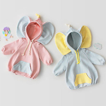 Fashion Cute Newborn Jumpsuit Hooded Toddler Clothes Korean Baby Romper