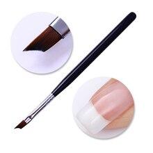 Acrylic French Tip Nail Brush Painting Drawing Pen Half Moon Shape Silver Handle Manicure Nail Art Brush Tool