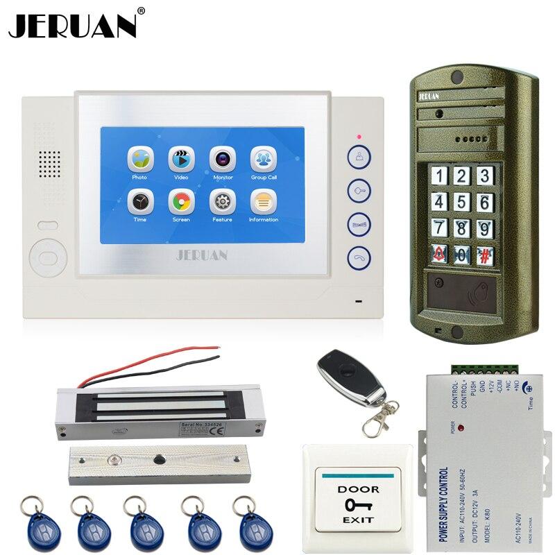 Home 7`` TOUCH Screen LCD Video Door Phone Record Intercom System kit+Waterproof Password HD Mini Camera +180kg Magentic lock