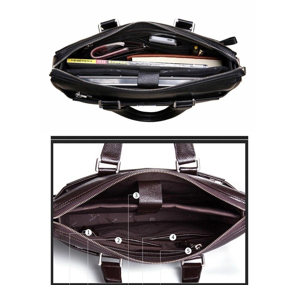Nouveau Double couches hommes en cuir mallette d'affaires décontracté homme sac à bandoulière sac de messager hommes ordinateurs portables sacs à main hommes sacs de voyage - 6