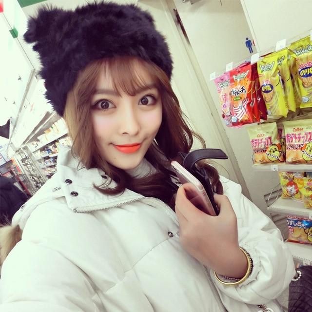 Hot fashion handmade knit rabbit fur hat women skullies Winter snow cap warm autumn and winter hat MZ-6#