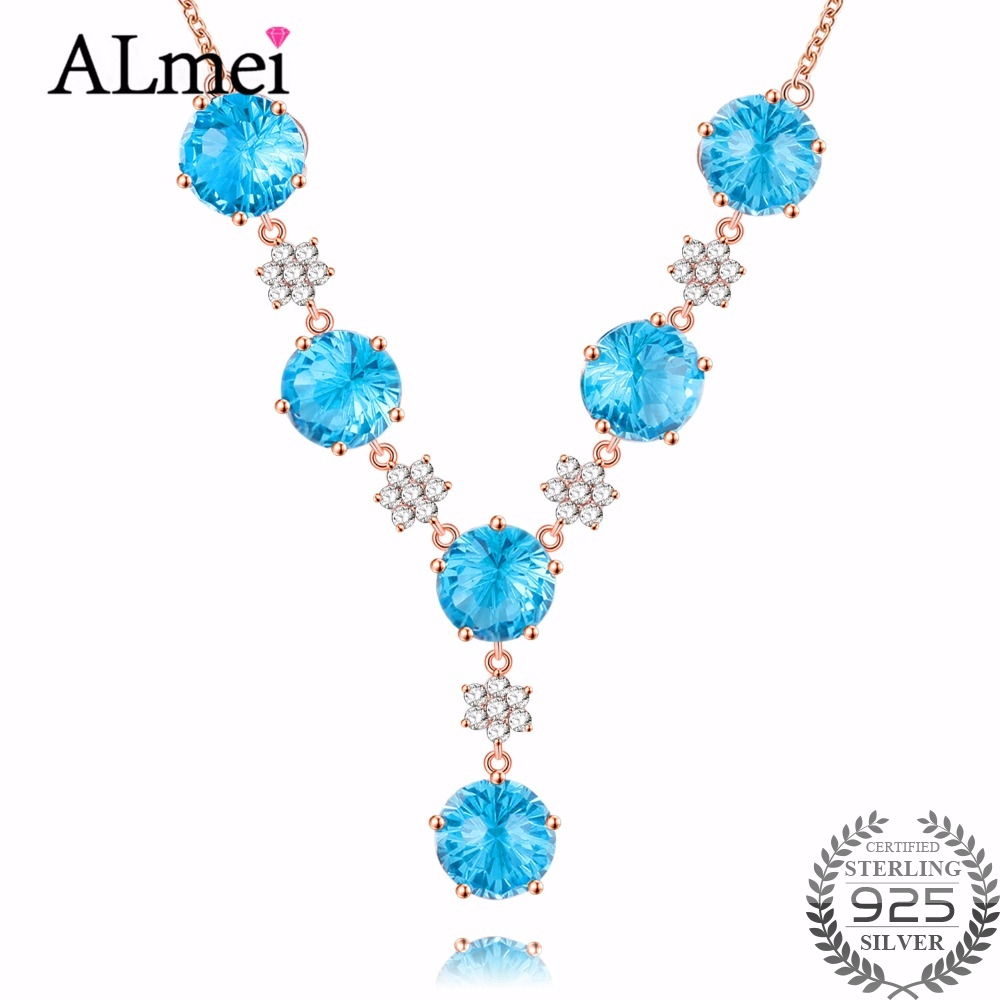Almei 6pcs Female 4ct Blue Corundum Crystal Stone Tassel Necklaces 925 Sterling Silver Rose Gold Color Jewelry with Box 40%FN023 2017 factory rose gold color 100% 925 sterling silver black blue stone paved cute hamsa hand link box chain gold color bracelet