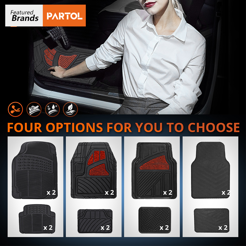 Partol 4Pcs/Set Car Waterproof Floor Mats Universal PVC Auto Floor Mats Car Carpet for Lada Honda KIA BMW Toyota VW Golf Mazda bear claw floor mats for kia amanti